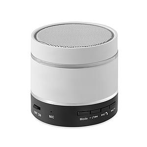 Bluetooth reproduktor s gumovým povrchem a LED diodami, bílá