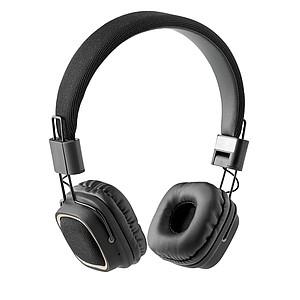 Skládací bluetooth sluchátka s textilním povrchem, černá
