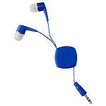 Sluchátka do uší se samonavíjecím kabelem, modrá