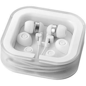 Sluchátka do uší s integrovaným mikrofonem, bílá