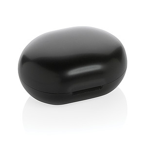 TWS sluchátka z RCS recyklovaného plastu, černá