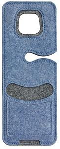 Plstěná kapsa na mobil k zavěšení na zásuvku, modrá