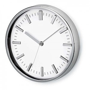 PENDULE Kulaté nástěnné hodiny, bílá reklamní hodiny s potiskem