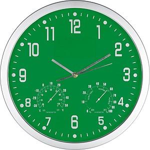 GASPRA Nástěnné hodiny s vlhkoměrem a teploměrem, zelené reklamní hodiny s potiskem