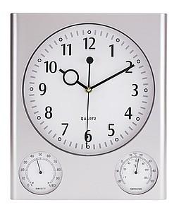 TURMA Nástěnná meteostanice, stříbrná reklamní hodiny s potiskem