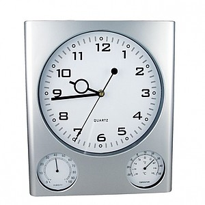 Nástěnné hodiny s vlhkoměrem a teploměrem, 27,5x32x2,5