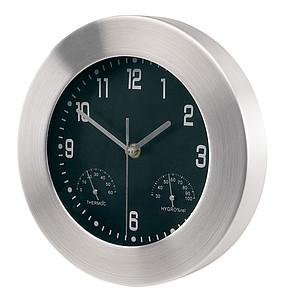 nástěnné analogové hodiny s teploměrem a vlhkoměrem