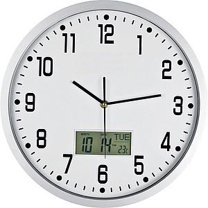 Analogové nástěnné hodiny s datumem a teploměrem, bílá