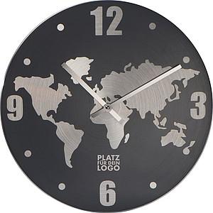 MANDARINE Nástěnné hodiny s mapou světa na ciferníku