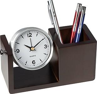LEGON Stolní otáčecí hodiny v dřevěném stojánku na propisky, hnědá