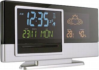 TYLER Stolní hodiny s budíkem, ukazatelem počasí, kalendářem reklamní hodiny s potiskem