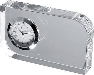 Stolní hodiny, skleněný stojan