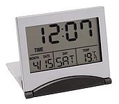 cestovní budík s LCD displejem, s kalend., teplom., stříbrný