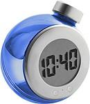 Vodou poháněné stolní digitální hodiny, stříbrno modré
