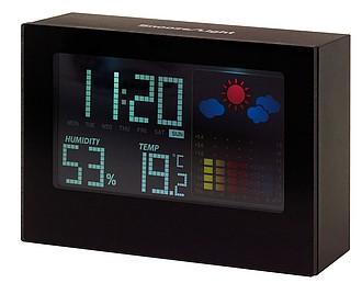 Budík s meteostanicí a LCD displejem, plast, černá