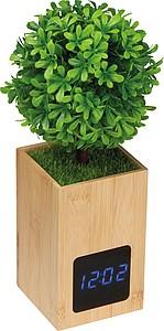 Bambusové stolní hodiny s umělým stromkem