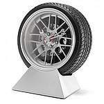 HORA Stolní hodiny ve tvaru pneumatiky, černá, stříbrná