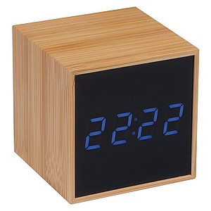 Stolní hodiny s černým displejem a modrým LED displejem,béžová reklamní hodiny s potiskem