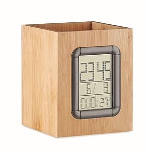 Bambusový stojan na tužky, středně hnědá - reklamní hodiny s potiskem