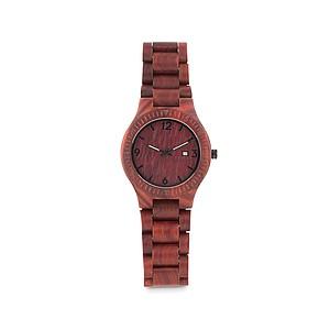Módní dřevěné náramkové analogové hodinky, hnědé