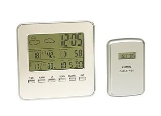 Počasová stanice s ukazatelem vnitřní i venkovní teploty reklamní hodiny s potiskem