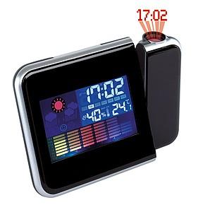 Budík, meteostanice, LCD displej, projektor, plast, černá reklamní hodiny s potiskem
