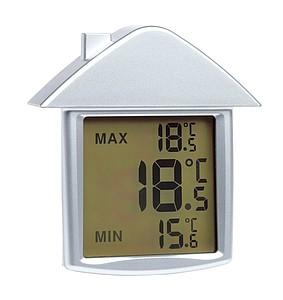 SPORKET Teploměr s hodinami, tvar domečku, přísavka na sklo