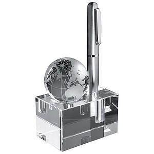 Skleněný stojan na stůl, otvor na 1 tužku, s globem