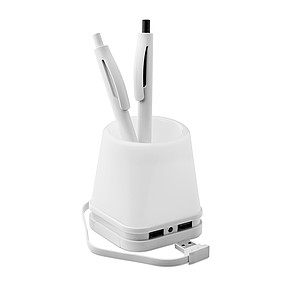 KYLTER Stojánek na tužky se světlem a rozbočovač na 4 USB, bílá