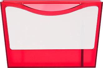KORY Plastový stojánek na pero a poznámkové lístky, červený - reklamní kancelářské potřeby