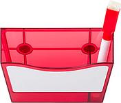 KORY Plastový stojánek na pero a poznámkové lístky, červený