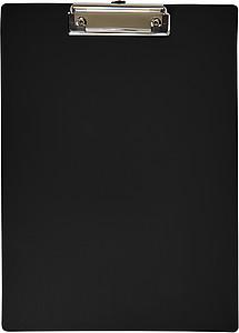 Plastová psací podložka s klipem, černá - reklamní kancelářské potřeby