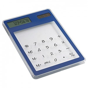 Průhledná kalkulačka se solárním panelem, modrá