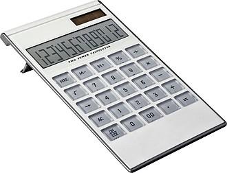 Kalkulačka na solární panel, pruhlédné tlačítka, bílá
