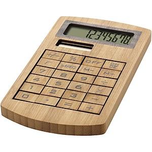 BAMBOOMATH Solární stolní kalkulačka vyrobená z bambusu, středně hnědá