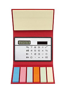 Kalkulačka se sadou značkovacích lístků v červeném obalu