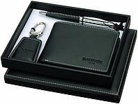 LE MANS černý set, peněženka, přívěšek, kuličkové pero