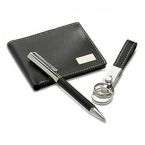 BEWANA Elegantní dárková sada kuličkového pera, klíčenky a peněženky