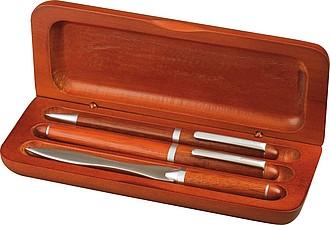 Dřevěné pouzdro s kul. a plnícím perem a nůž na dopisy