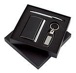 Dárkový set, 3 ks, vizitkář, pero a přívěsek,v krabičce, kov