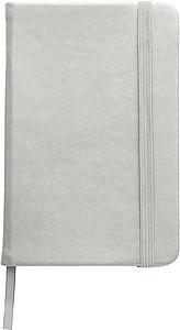 DEPUTY A6 Linkovaný blok se záložkou a gumičkou, 96 listů, stříbrný - reklamní bloky