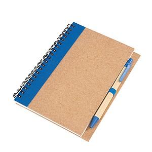Psací blok s propiskou, recyklovaný materiál, modrá