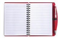 LIBERO Linkovaný blok s kuličkovým perem, A6, obal červený