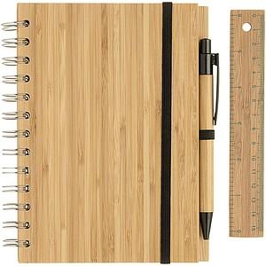 JULES Eko zápisník formátu A5 s perem a pravítkem, dřevěný