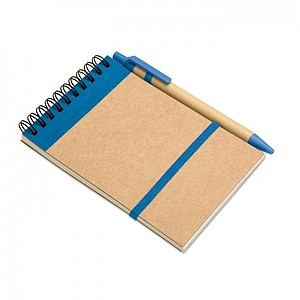 Poznámkový blok a pero z recyklovaného papíru, modrá