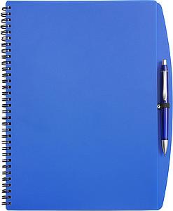 LIBERO Linkovaný blok s kuličkovým perem, A4, obal modrý