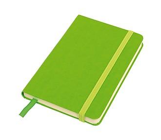 Poznámkový blok A6 s gumičkou, zelený