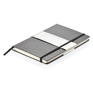 Zápisník se záložkou, gumičkou a tvrdými deskami A5, černá