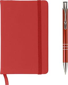 NOTESET Poznámkový blok s gumičkou a perem, červená - reklamní bloky