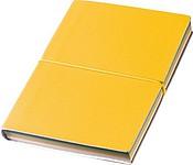 PLATY Kapesní zápisník s barevnými stránkami a gumičkou, žlutý